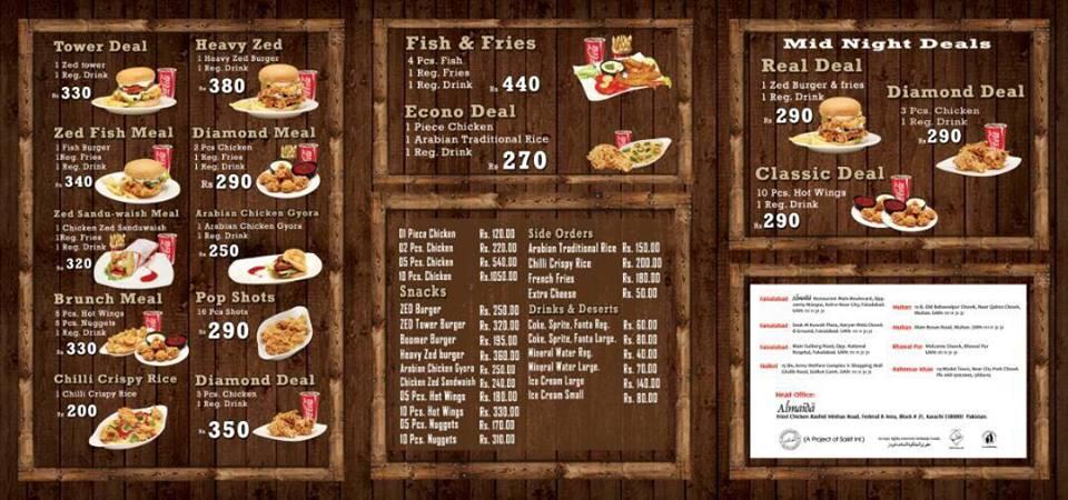 Almaida Pizza Garden Menu