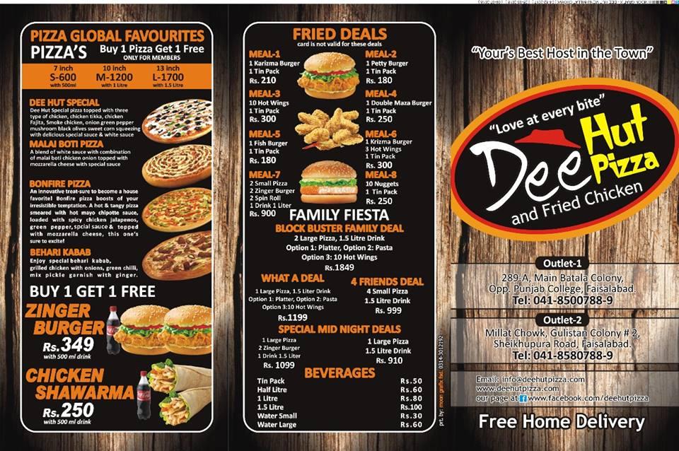 Dee Hut Pizza Menu