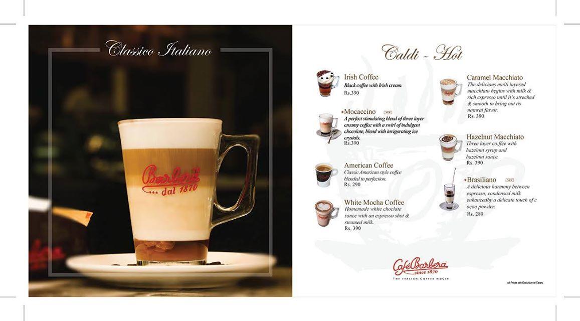 Café Barbera Menu