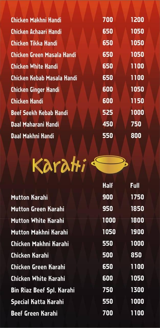 Bin Riaz Grill Menu - Food Pakistan