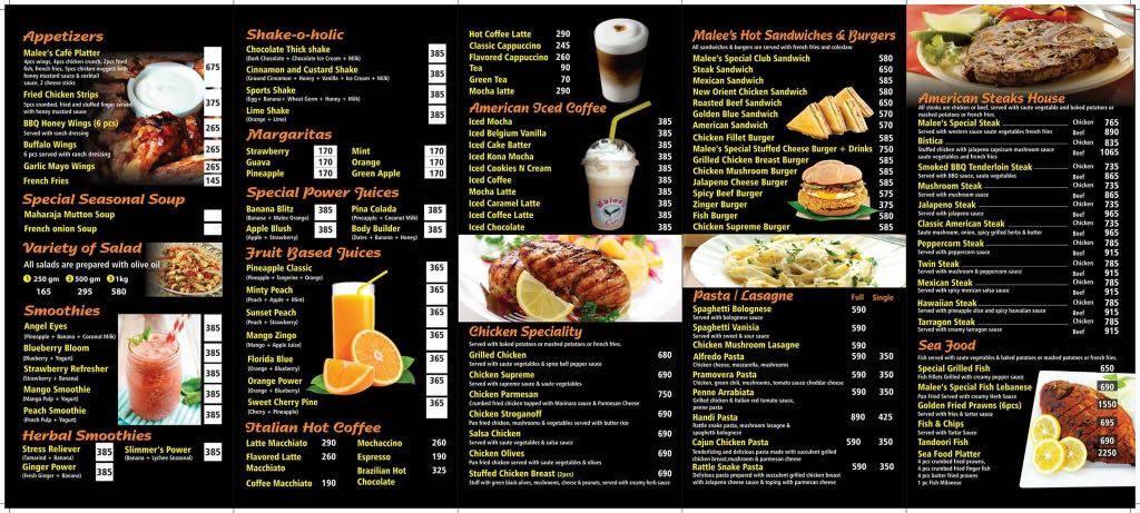 Malees Cafe Menu