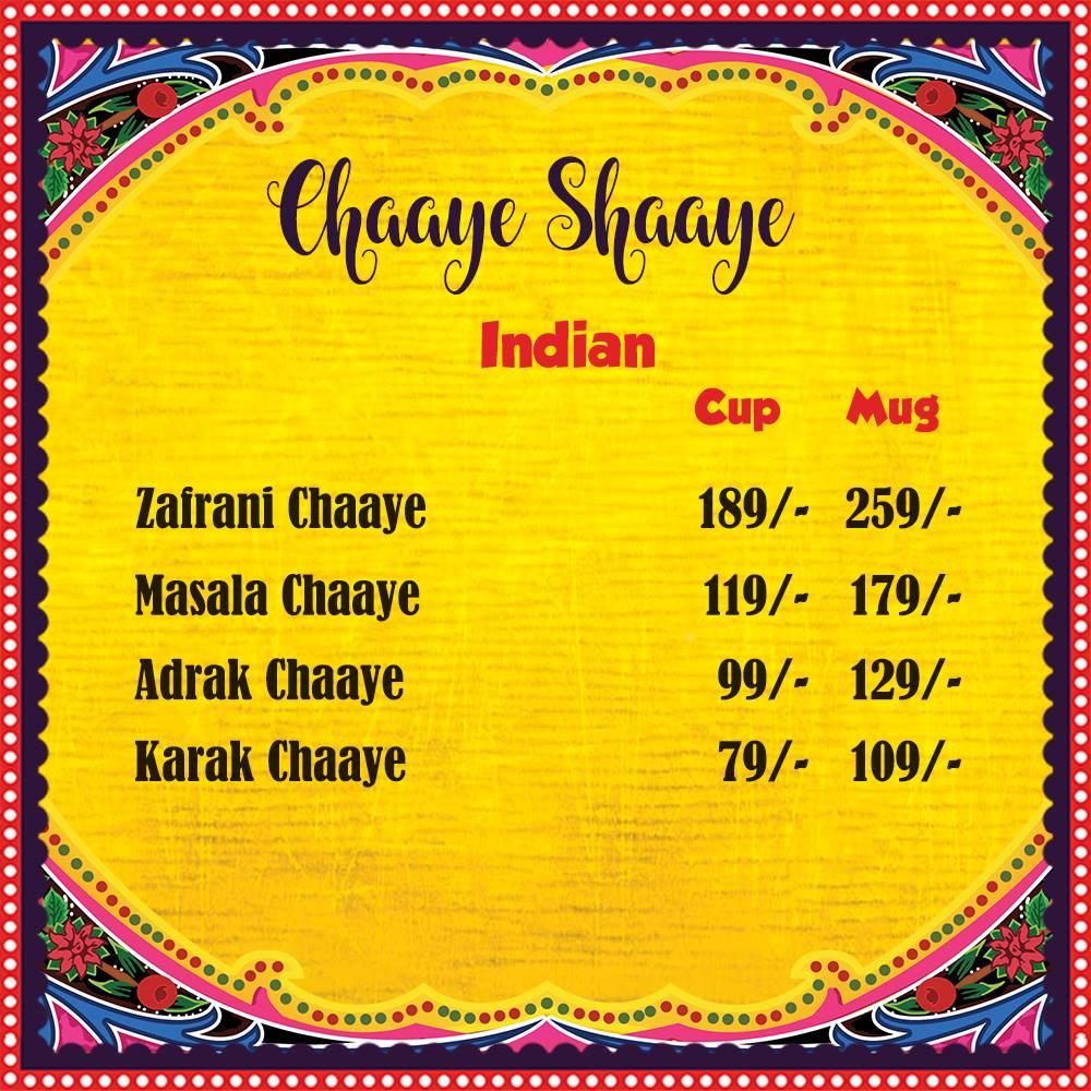 Chaaye Chobara Menu
