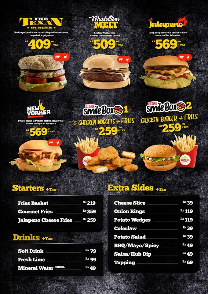 Burger Hub Gulberg Menu