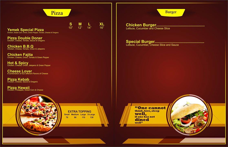Yemek Doner Kebab Menu