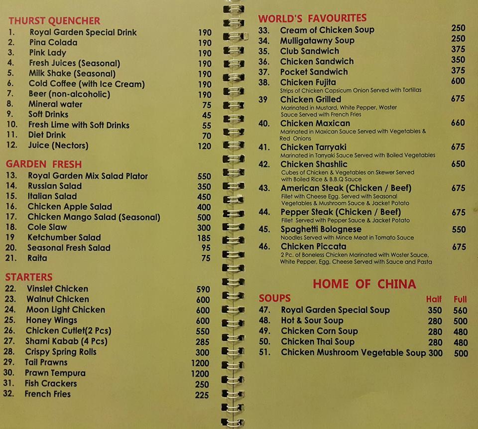 Hotel Royal Garden Gujranwala Menu