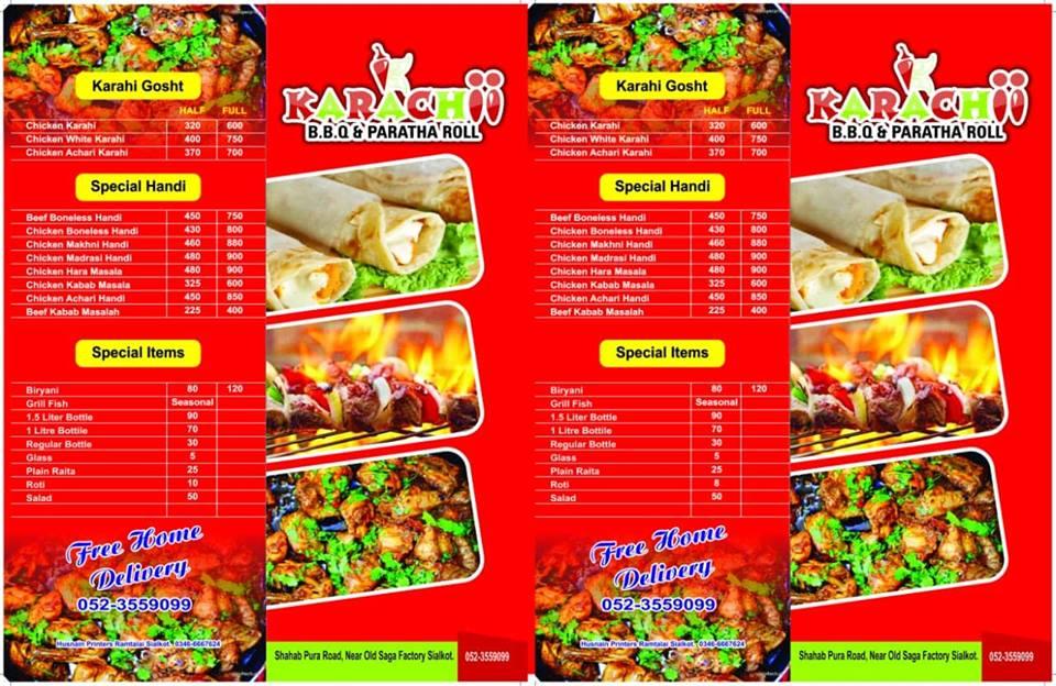 Karachii BBQ and Pratha Rolls Menu