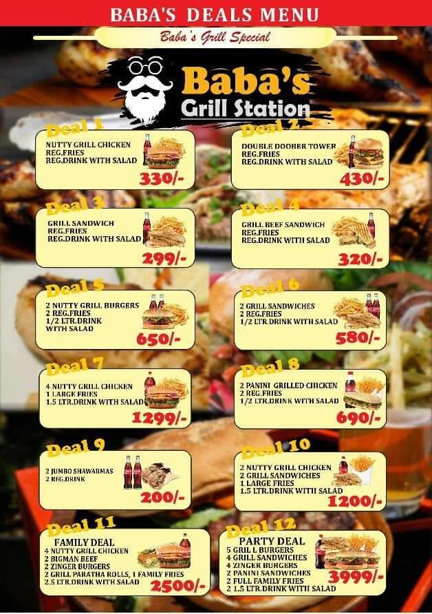 Baba's Grill Station Menu