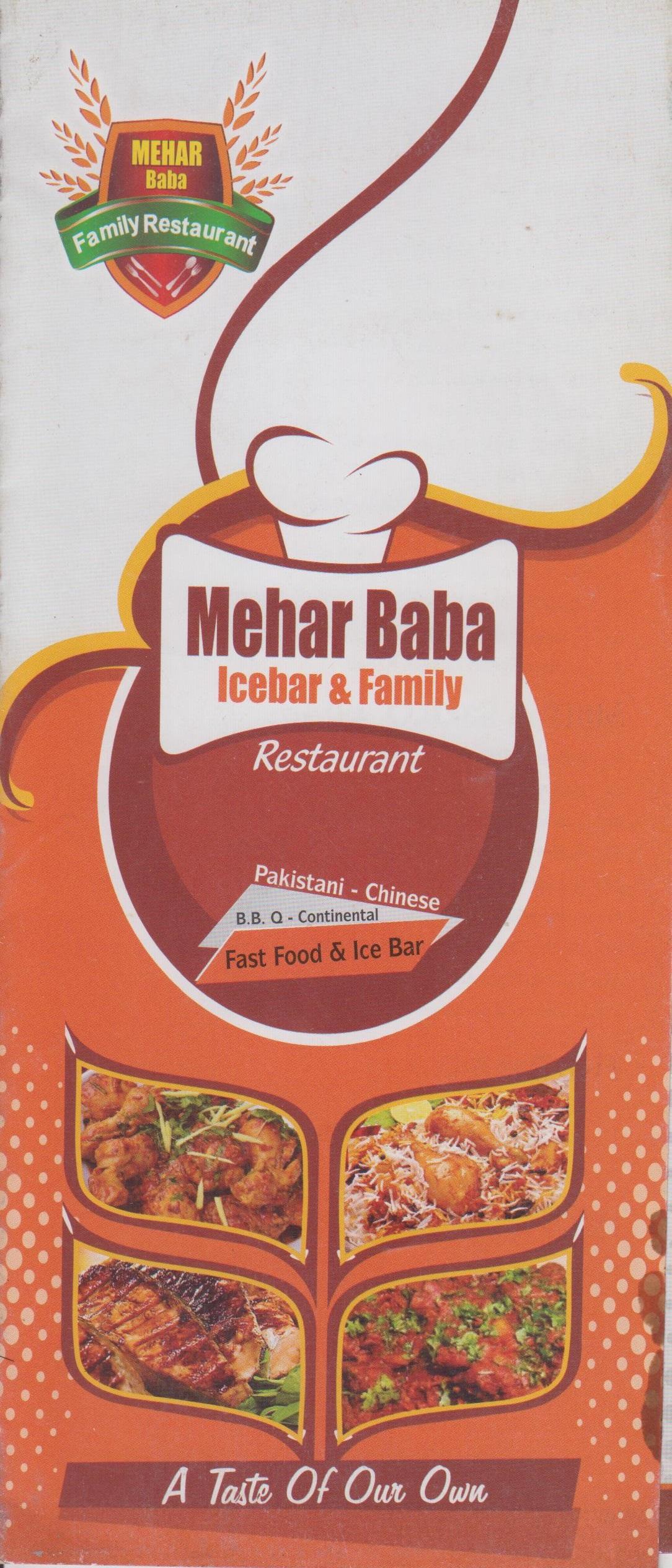 Mehar Baba Restaurant Menu